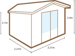 Bradnor Log Cabin 2200mm X 2200mm