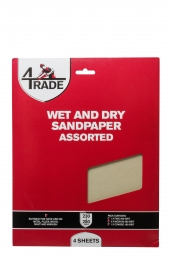 4trade Wet And Dry Sandpaper 4 Pack Assorted