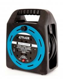 4trade Semi Enclosed Reel 13 Amp 4 Socket With Thermal Cutout 15m