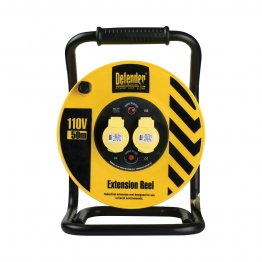 Defender Twin Outlet Cable Reel 110v 25m 2.5mm Heavy Duty 2way E86505