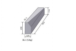 Bs Concrete Left Hand Drop Kerb Half Battered 125mm X 255mm To Bull Nosed 125 X 150mm