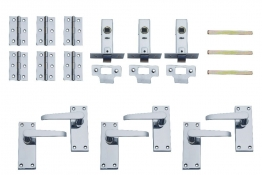 4trade Victorian Complete Door Packs Latches Hinges + Levers Chrome Pack 3
