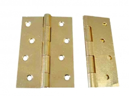 4trade Butt Hinges Fixed Pin Electro Brass 100mm Pack Of 2