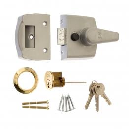 4trade Nightlatch Narrow Style Grey Case Polished Brass Cylinder