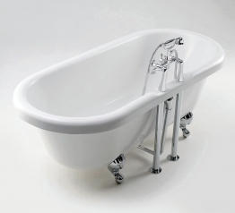 Iflo Victoria 2 Tap Hole Double Ended Roll Top Bath 1685mm X 745mm