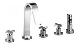 Abode Ab1070 Serenitie Five Piece Bath Filler C.w Shower Mixer And Diverter Chrome