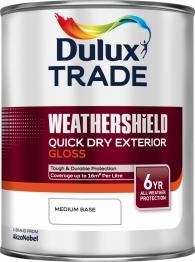 Dulux Trade Weathershield Quick Drying Exterior Gloss Medium Base 1l