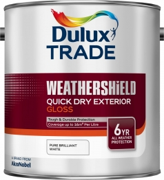 Dulux Trade Weathershield Quick Drying Exterior Gloss Pure Brilliant White 2.5l