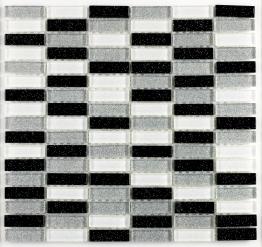 Verona Mosaics Wall B.w.s Glitter Brick Mosaic Black/white Glass 300mm X 300mm