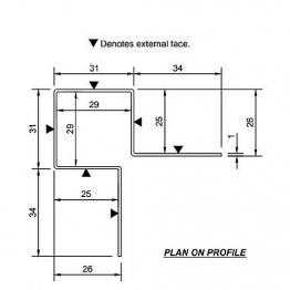 Cedral Ext Corner Symmetric L=3m Alu C18 Slate Grey