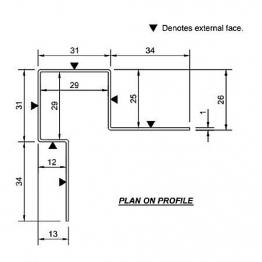 Cedral Ext Corner Assymmetric L=3m Alu C18 Slate Grey