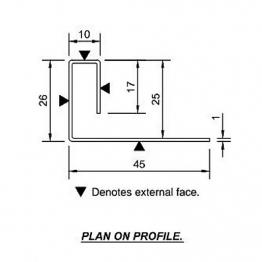 Cedral End Profile 45/26/10/17 L=3m Alu C07 Cream White