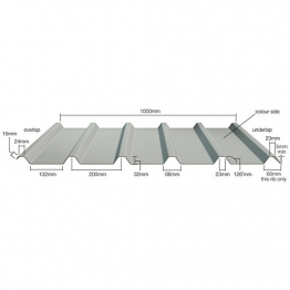 Steel Roof Sheet. Bs10a05 Goosewing Grey Plastic Coated Sheet 6ft (1825mm)