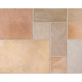 Riven Fairstone Natural Sandstone 275 X 275 X 22mm Golden Sand Multi