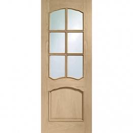 35mm Internal Oak Riviera Clear Glazed Door. Imperial 6'6