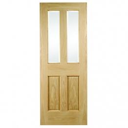 35mm Internal Oak 4 Light Clear Glazed Non-raised Mouldings Door. Imperial 6'6