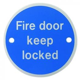 Fd115 Fire Door Keep Locked Sign Satin Anodised Aluminium 75mm