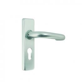 Round Bar Rose Lever Handle Euro Profile Satin Anodised Aluminium 19mm