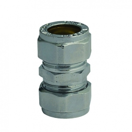 Compression Chrome Plated Straight Coupling 22mm
