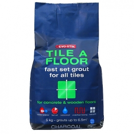 Evo-stik Tile A Floor Fast Set Grout Charcoal 5kg