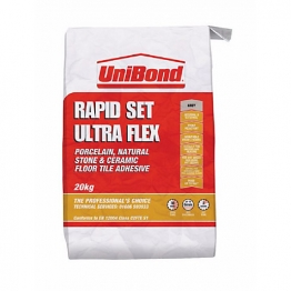 Unibond Rapid Set Ultra Flex Floor Tile Adhesive Grey 20kg