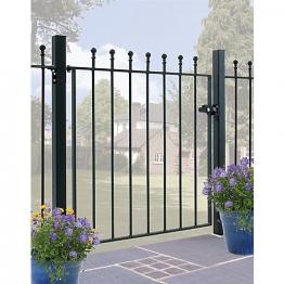 Burbage Ma05/3 Manor Ball Top Metal Garden Gate Fits 914mm Gap X 915mm High Black Colour