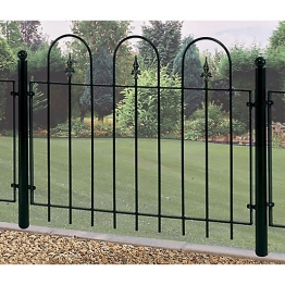 Burbage V02 Village Hoop Top Metal Green Fence Panel 914mm X 1143mm