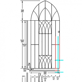 Burbage Ab43 Abbey Tall Bow Top Metal Garden Gate Fits 991mm Gap X 1988mm High Black Colour