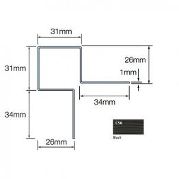 Cedral Ext Corner Symmetric L=3m Alu C50 Black