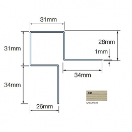 Cedral Ext Corner Symmetric L=3m Alu C03 Grey Brown