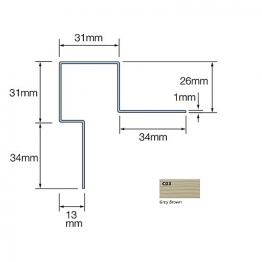 Cedral Ext Corner Assymmetric L=3m Alu C03 Grey Brown