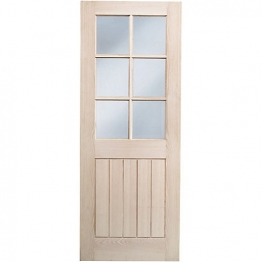 Hardwood Oak Suffolk 6 Light Glazed Internal Door Height 1981mm