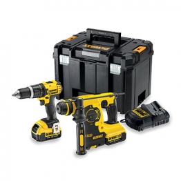 Dewalt 18v 2 Speed Combi & Sds Hammer Drill Kit Dck206m2t-gb