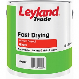 Leyland Fast Drying Water Based Gloss 2.5l Black Paint