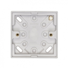 Volex White Moulded 1 Gang Surface Box 20mm Deep With Earth Terminal