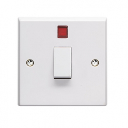 Volex White Moulded 20a Double Pole Control Switch With Neon Light Indicator