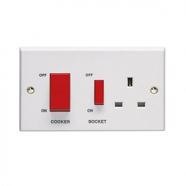 Volex White Moulded 45a Cooker Control Unit With 13a Switched Socket Outlet