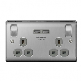 British General 2 Gang Switched Socket With Usb Charging