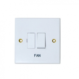 Volex White Moulded 13a Double Pole Switched Fused Connection Unit Marked Fan
