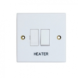 Volex White Moulded 13a Double Pole Switched Fused Connection Unit Marked Heater
