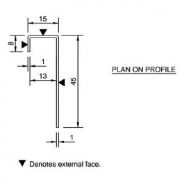 Cedral Connection Profile 45/15/8 L=3m Alu C50 Black