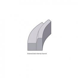 Concrete Kerb 125x150mm Bull Nosed Radius External 8m Bs7263.3
