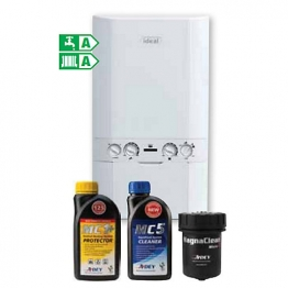 Ideal Logic Plus 30kw Combi Boiler & Standard Horizontal Flue & Adey Micro 2 Filter & Chemicals Pack Erp