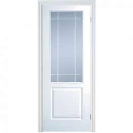 Moulded 2 Panel Smooth Hollow Core Clear Glazed Internal Door 1981mm X 838mm X 35mm