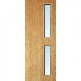Internal Flush Oak Veneer Fd30 Fire Door 16g Clear Glazed 2040mm X 826mm X 44mm