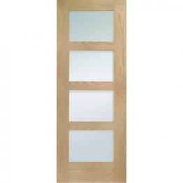 Hardwood Oak Shaker 4 Light Internal Door With Obscure Glass 1981mm X 838mm X 35mm