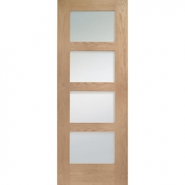 Hardwood Oak Shaker 4 Light Internal Door With Clear Glass 1981mm X 610mm X 35mm