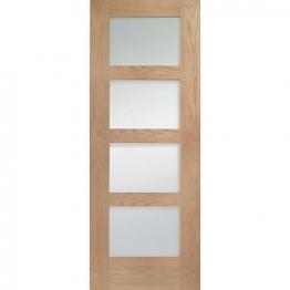 Hardwood Oak Shaker 4 Light Internal Door With Clear Glass 1981mm X 762mm X 35mm
