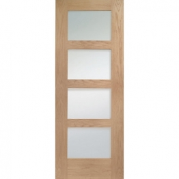 Hardwood Oak Shaker 4 Light Internal Door With Clear Glass 1981mm X 838mm X 35mm