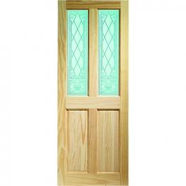 Pine Victorian Burns 2 Light Glazed Internal Door 1981mm X 686mm X 35mm